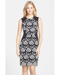 BCBGMAXAZRIA 'Laurine' Floral Lace Overlay Sheath Dress - Lyst
