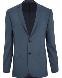 River Island Grey Slim Suit Jacket - Lyst