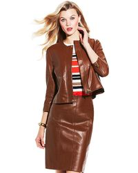 Vince Camuto Brown Leather Jacket - Lyst