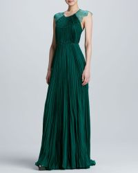 Catherine Deane Lace Pleated Chiffon Gown - Lyst