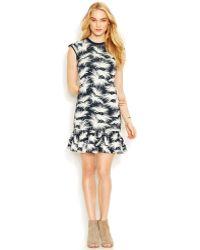 RACHEL Rachel Roy Cap-Sleeve Printed Drop-Waist Dress - Lyst