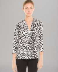 Sandro Top Epique Cheetah Print Zip Front Silk - Lyst