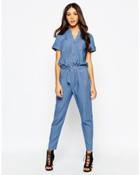Never Fully Dressed - Chambray Jumpsuit With D Ring Belt - Lyst