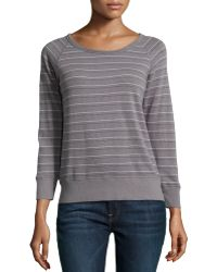 James Perse Striped Jersey Scoop-Neck Pullover - Lyst