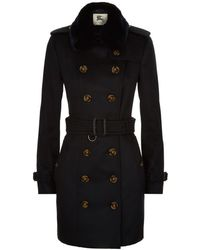 Burberry - The Sandringham Fur Trim Cashmere Trench Coat - Lyst