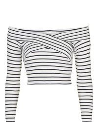 TOPSHOP - Petite Bardot Stripe Top - Lyst