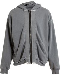 Haider Ackermann Distressed Hooded Sweatshirt - Lyst