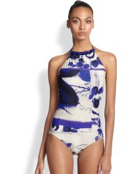 Jean Paul Gaultier One-Piece Printed High-Neck Swimsuit - Lyst