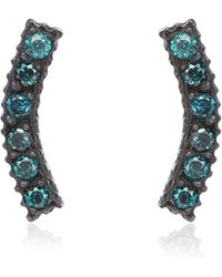 Yossi Harari Lilah Stick Pave Blue Diamond Smile Stud Earrings - Lyst
