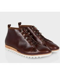 Paul Smith Brown Leather 'Mercury' Lace-Up Boots With Shark-Fin Sole - Lyst