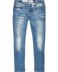 River Island Blue Wash Distressed Sid Skinny Stretch Jeans - Lyst