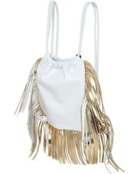 Sara Battaglia David Fringed Nappa Leather Backpack gold - Lyst