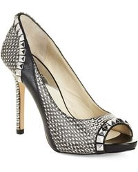 Michael by Michael Kors Stud and Animal Print Pumps - Lyst