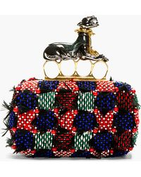 Alexander McQueen Red and Purple Feather_embroidered Panther Knuckle Box Clutch - Lyst