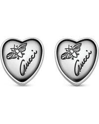 Gucci Heart-shaped Sterling Silver Stud Earrings - Lyst