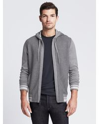 Banana Republic Tipped Gray Sweater Jacket - Lyst