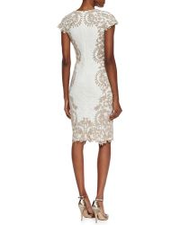 Tadashi Shoji Cap Sleeve Embroidered Border Cocktail Dress Ivorysand - Lyst
