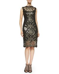 Tadashi Shoji Metallic Lace Overlay Cocktail Sheath Dress - Lyst