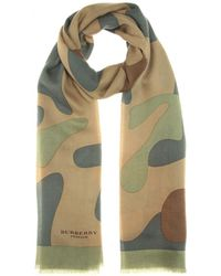 Burberry Prorsum Printed Cashmere Scarf green - Lyst