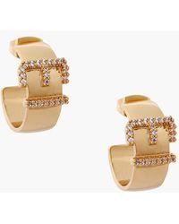 Rachel Zoe 'Sophia' Buckle Hoop Earrings - Clear/ Gold - Lyst