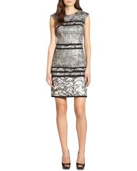 Kay Unger Mixedprint Metallic Jacquard Dress - Lyst
