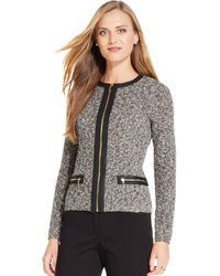 Jones New York Signature Petite Marledknit Pleathertrim Cardigan - Lyst