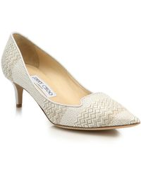 Jimmy Choo | Allure 50 Woven Textile & Leather Mid-heel Pumps | Lyst
