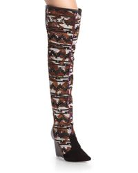 Sophia Webster Hallie Southwestern-Printed Calf Hair Knee-High Wedge Boots - Lyst