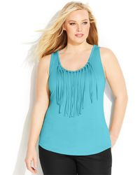 Michael Kors Michael Plus Size Fringed Tank Top - Lyst