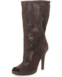 Pedro Garcia Sira Perforated Peep-Toe Mid-Calf Boot - Lyst