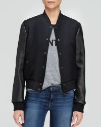 Elizabeth And James Jacket - Sam Leather Sleeve Bomber - Lyst