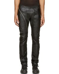 Rick Owens Black Leather Aircut Trousers - Lyst