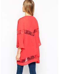 Girls On Film - Longline Kimono With Lace Inserts - Lyst