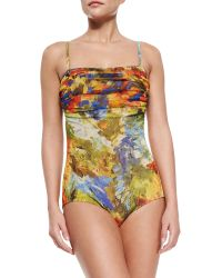 Jean Paul Gaultier Printed Ruched-Top One-Piece Swimsuit - Lyst