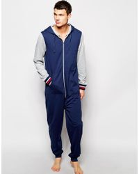 Asos Onesie with Contrast Sleeve and Tipped Rib - Lyst