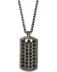 Emporio Armani Mens Sterling Silver Dog Tag Pendant Necklace - Lyst