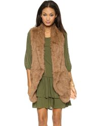 June Knit Fur Vest Toffee - Lyst
