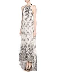 Alice + Olivia Isla Tback Lace Maxi Dress - Lyst