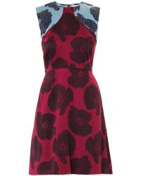 Jonathan Saunders Reesha Poppy-Print Satin Dress - Lyst