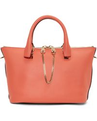 Chloé Coral Pop And Blush Colorblock Calfskin Small Baylee Bag - Lyst