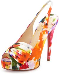 Christian Louboutin Vendome Floralprint Red Sole Slingback - Lyst