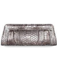 Cashhimi Malibu Python Embossed Leather Clutch - Lyst