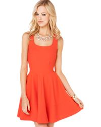 Akira Pique Zip Back Flared Dress in Orange - Lyst