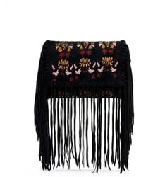 Isabel Marant 'Shiloh' Embroidery Suede Ethnic Fringe Clutch multicolor - Lyst