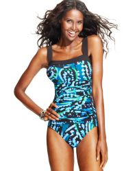 INC International Concepts | Printed Ruched Onepiece Swimsuit | Lyst