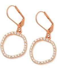T Tahari Rose Goldtone Crystal Pavé Circle Drop Earrings - Lyst