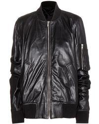 Rick Owens Flight Bomber Leather Jacket - Lyst