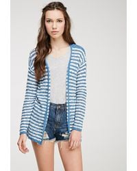 Forever 21 Striped Knit Cardigan - Lyst
