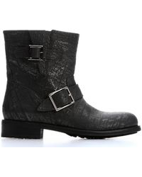 Jimmy Choo Asphalt Crushed Shiny Leather 'Youth' Biker Ankle Booties - Lyst