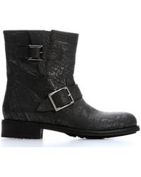 Jimmy Choo Asphalt Crushed Shiny Leather Youth Biker Ankle Booties - Lyst